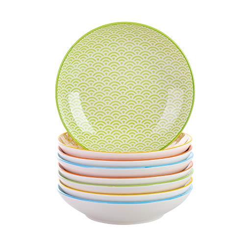 vancasso Natsuki 8 tlg. Porzellan Suppenteller, Ø 21,5 cm Tiefteller Set,700ml Mehrfarbig