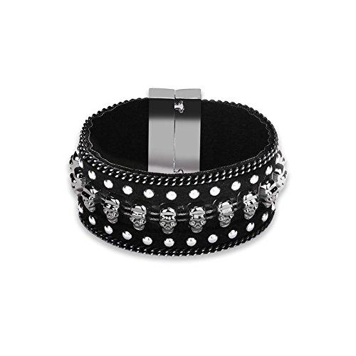 AmDxD Schmuck Damen Leder Armband Totenkopf Breit Rand Kette Schwarz Silber 19.5CM Punk Leder Armkette