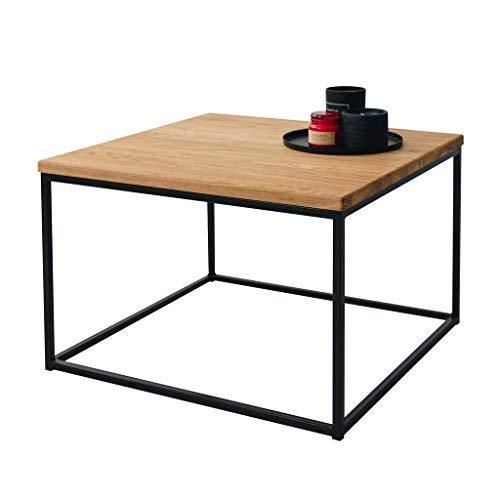 BestLoft Couchtisch Boston Mini Beistelltisch Industriedesign Loft (59 x 59 cm, Eiche Hell Natur + Gestell Schwarz)