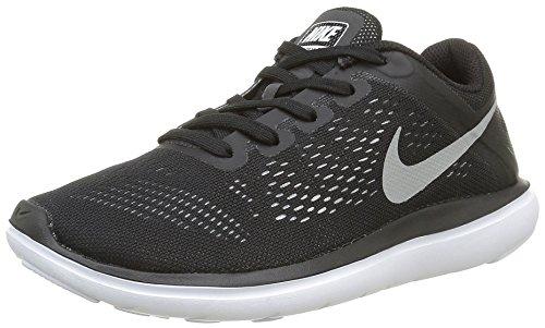 Nike Boy's Flex 2016 RN (GS) Running Shoes (4.5 Big Kid M, Black/White/Metallic Silver)