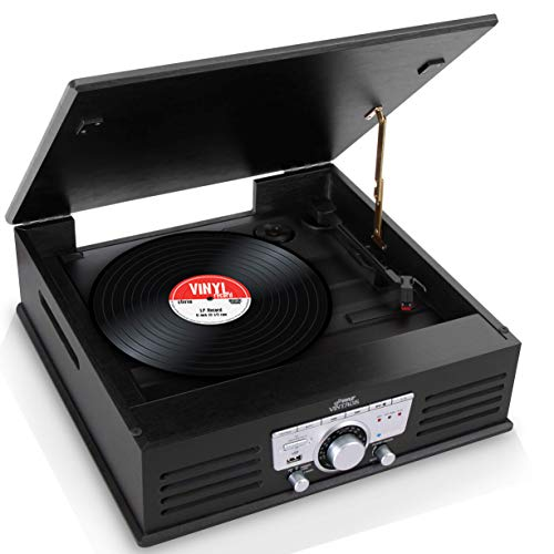 Updated Pyle Bluetooth Retro Turntable - Built-in Speakers, Wireless Record Player, Record Player Convert Vinyl to MP3, CD/Radio/USB/MP3, 3 Speed Turntable: 33, 45, 78 RPM - PTT25UBT