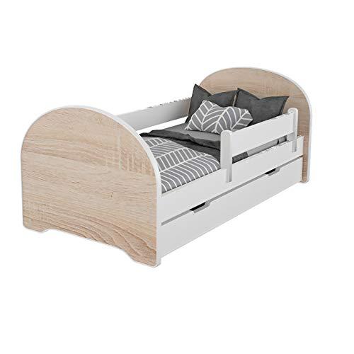 Jugendbett Kinderbett mit Rausfallschutz Matratze Schubladen und Lattenrost Kinderbetten für Mädchen und Junge 140x70cm oder 160x80cmKinder Bett mit eingebautem Kopfteil (140x70cm, Weiß/Sonoma)