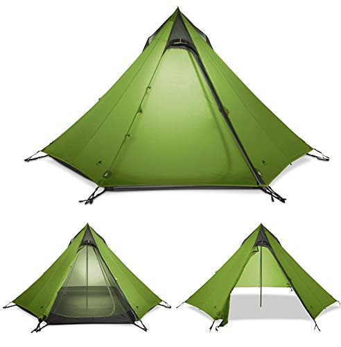 Outdoor Tent, Double, Big Pyramid Tent 2-3 People Ultra Light Poleless Tent A Tower Double Season Camping Tent (Color : Green)
