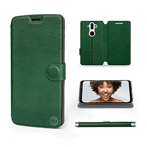 Mobiwear | Echt Lederhülle | Kompatibel mit Nokia 8 Sirocco, Made in EU handyhülle, Slim Leather Hülle, Premium Flip Schutzhülle, Transparent TPU Silicon, Book Style, Tasche - Grünes Leder