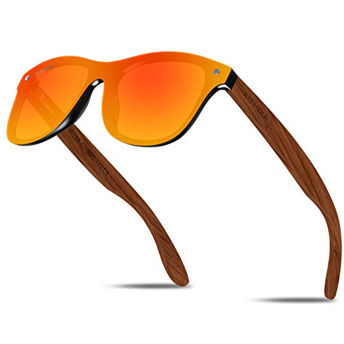 KITHDIA Herren Damen Natürlich Holz Polarisierte Sonnenbrille Verspiegelt Linse WL23