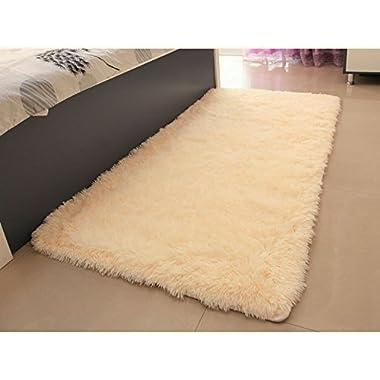 ACTCUT Super Soft Solid Carpet/Floor Rug/Living room carpet/Area Rug Size: 2.5 Feet X 5 Feet (Beige)
