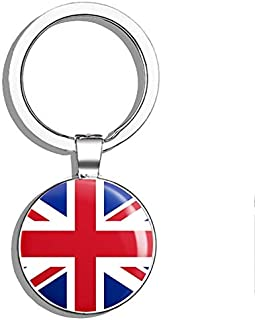 Glover Trading Union Jack UK British Flag Map Round Steel Metal Key Chain Keychain Ring Double Sided Deisgn