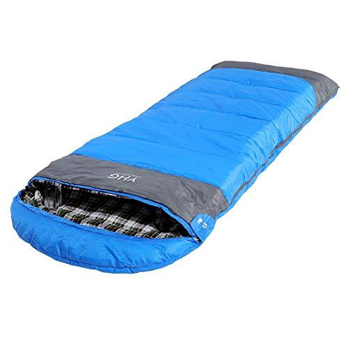 Soulong Outdoor slaapzak campingslaapzak dekenslaapzak voor volwassenen en kinderen, hoge temperatuurbestendigheid, polyestervezels en katoen, blauw en grijs, 190x30x80 cm