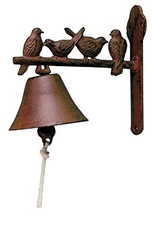 Esschert Design Türglocke mit Klöppel, Türklingel mit Motiv Vogel aus rötlichem Gusseisen, ca. 22 cm x 11 cm x 19 cm