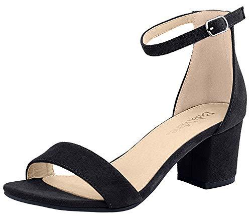 Bella Marie Women's Strappy Open Toe Block Heel Sandal, Black Suede, Size 8