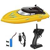 Barca RC, 2.4GHz Barca telecomandata Impermeabile Alta velocità Nave RC Motoscafo Modello Giocattolo per Bambini Giocattoli a Distanza per Barche Barca da Regata(Giallo)