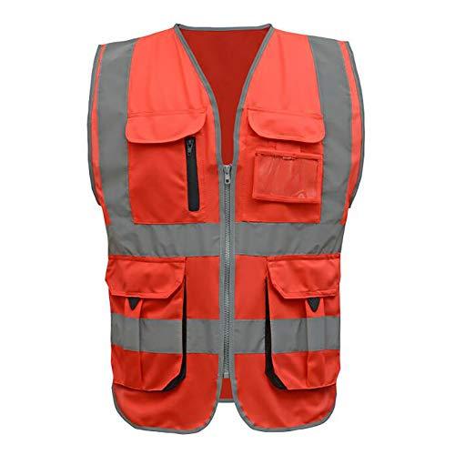 GOGO Warnweste Sicherheitsweste Hohe Sichtbarkeit Reißverschluss Vorne Multi Taschen mit Reflexstreifen und Paspelierung Rot 2XL