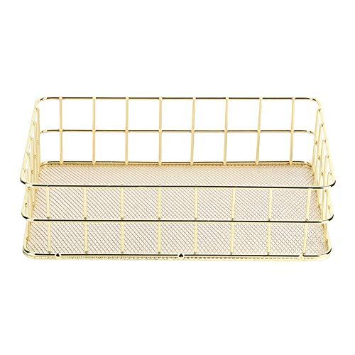 Trådförvaringskorg, Gojiny Golden hushåll förvaringskorg multifunktionell trådnät skrivbord förvaring organisering för skafferi, hylla, frys, köksskåp, badrum