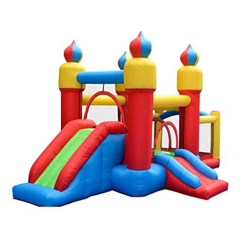 WRJY Castillo Hinchable para niños, trampolín Grande, tobogán, Parque acuático, Juguete, Pared de Escalada, Adecuado para Que los niños jueguen Juntos (Color: Azul, tamaño: 480 * 280 *