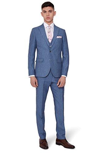 Moss London Men's Slim Fit Sky Blue Linen Suit Jacket 44R
