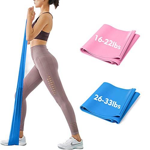 iMoebel Theraband 2er-Set Gymnastikband Fitnessbänder - 2 STÄRKEN 8-10kg / 12-15kg Premium Extra Lang 1,5/1,8 Meter Übungsband widerstandsbänder für Yoga, Pilates, Crossfit, Rehabilitation