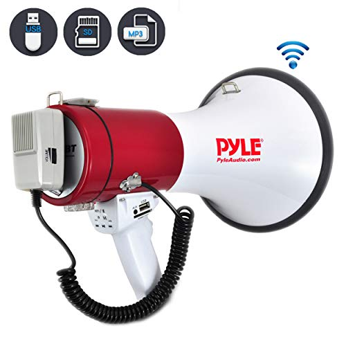 Pyle Megaphone Speaker PA Bullhorn with Built-in Siren - 50 Watts Adjustable Volume Control and 1200 Yard Range - Ideal for Football, Soccer, Baseball, Hockey and Basketball Cheerleading Fans and Coaches or for Safety Drills (PMP52BT)