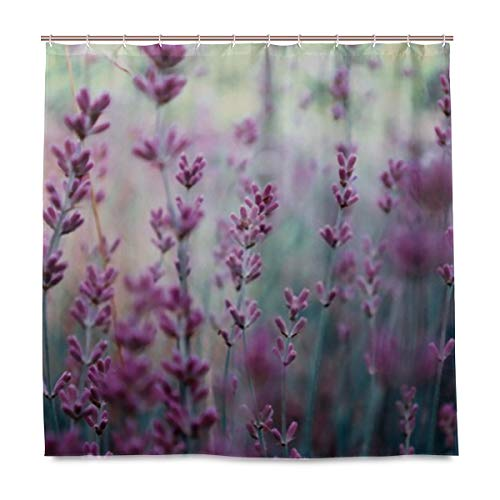 CHNEGYX Waterproof Polyester Fabric Shower Curtain Beautiful Detail Scented Lavender Flowers Field Quickly Shower Curtain, Bathroom Decor Set with Hooks- 72 X 72 Inch