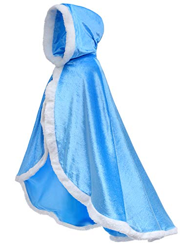Party Chili Fur Princess Hooded Cape Cloaks Costume for Girls Dress Up Blue 2-3 Years(100cm)