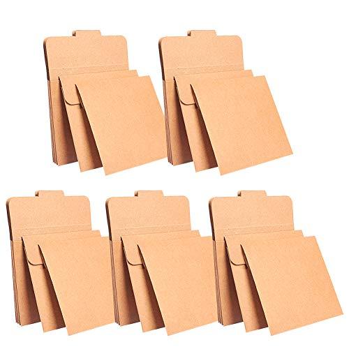 Fablcrew 25 Hüllen aus Kraftpapier, Karton, Vintage, Umschläge für CD/DVD, Sleeve 13 x 13 cm