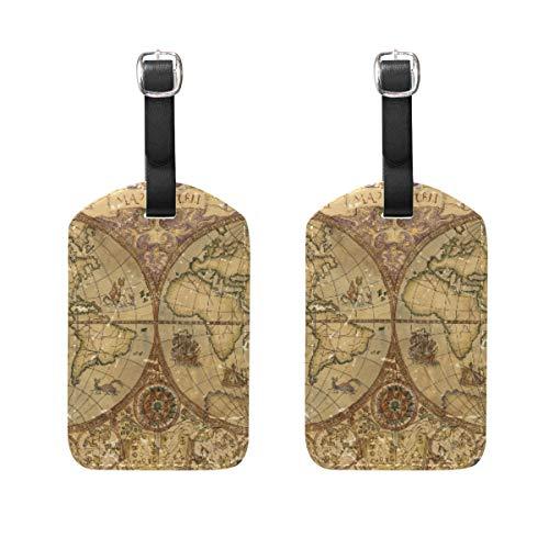 Targhetta per bagaglio, 2 pezzi, portatile, con mappamondo, targhetta identificativa, porta nome, accessori da viaggio per valigia