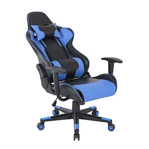 Jaime ma masion S Sillas de juego/oficina/sillas de computadora, estilo de carrera de coche, sillas de múltiples funciones (YH/AG), blanco, rojo, azul (Negro-azul-C)