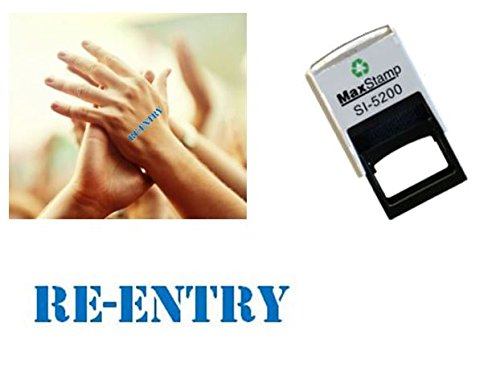 Re-Entry hand stamp - suitable for Festivals, Parties, Pubs, Special Events - Exhibitions self inking Blue stamp 28 x 6mm