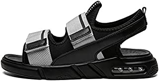 SHENLIJUAN Summer Beach Sandals for Men Outdoor Water Shoe Mesh Fabric Hook&Loop Strap Open Toe Air Cushion Outsole