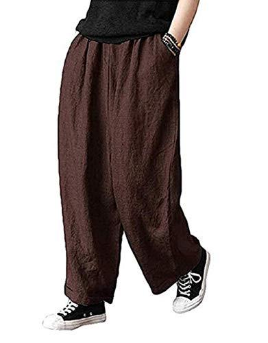 Minasan - Pantalones largos de lino para mujer, casuales, con cintura elástica