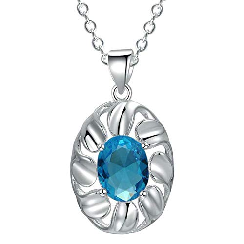 Daesar BFF Necklace Girls, Plated 18K White Gold Necklace Chain for Women Oval Blue Cubic Zirconia Silver Necklace Pendant