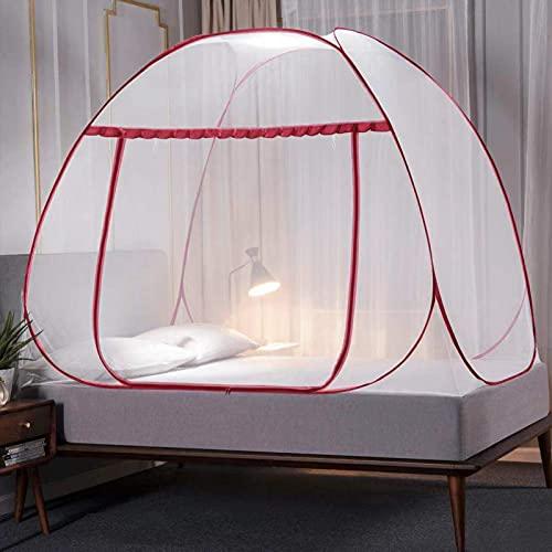 Mosquitera pop-up de 180 x 200 x 150 cm, grande, portátil, para viaje, con cierre de puerta, con parte inferior de red totalmente cerrada, mosquitero plegable para dormitorio al aire libre, color rojo