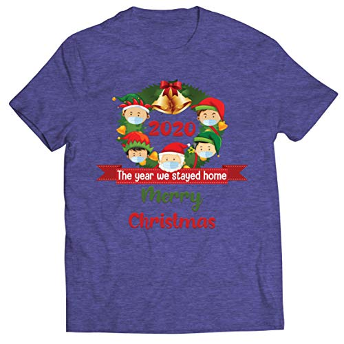 lepni.me Mens T-Shirt Merry Christmas in Quarantine 2021 Stay at Home Together for Xmas Holidays (M Heather Blue Multi Color)