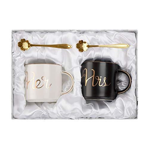 Mr y Mrs taza de café, ANSUG Personalice la taza de mármol de la leche de cerámica de las parejas con la cuchara de café para la boda, aniversario, regalo de los Valentines - 14 onzas (His&Her)