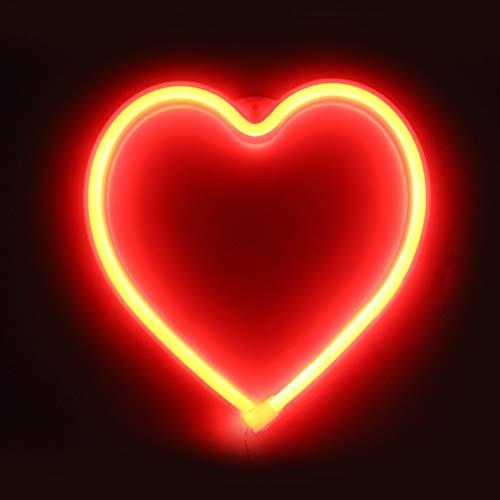 XIYUNTE Heart Leuchtschilder - LED Herz Neonlicht rot Herz Neonschild Wandlichter, Batterie oder USB betrieben Herz Licht Dekoration für Zuhause, Kinderzimmer, Bar, Party, Weihnachten, Kinder Geschenk
