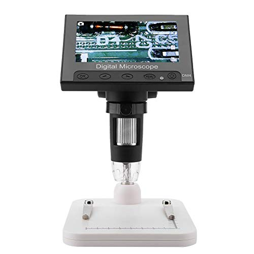 TF Card Slot Electronic Microscope, DM4 2MP 500/1000X Digital Magnifier, Jewelry Appraisal, Detecting for Industrial PCB Checking(Plastic Rack)