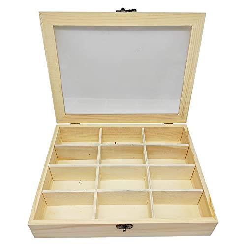 C1 Caja de Madera con 12 Compartimentos 25.8 X 19.8 X 5 cm