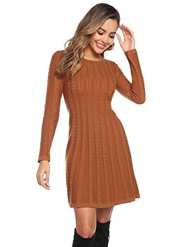 Abollria Sukienki zimowe damskie swetry, sukienka z dzianiny, na zimę, sukienka koktajlowa, długa sukienka, sukienka na czas wolny, sweter, bluza