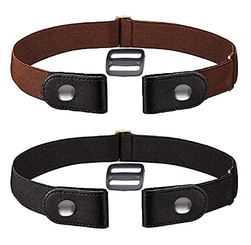 Hiwalker 2 Unids Cinturón Elástico Sin Hebilla para Hombre para Mujer Hombre Cómodo Ajustable Sin Hebilla Invisible Cinturón para Pantalones Vaqueros Vestidos (Negro y Marrón, 70-120cm)