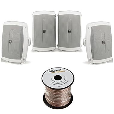 Yamaha NS-AW150WH 2-Way Outdoor Speakers - White (4 Seapkers + AmazonBasics Speaker Wire)