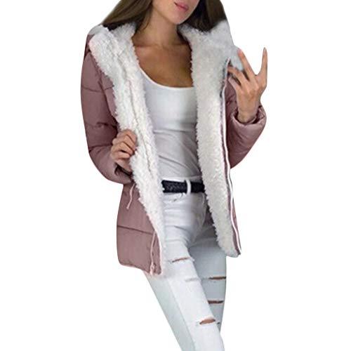 Giacca Capispalla Donna Moda Inverno Addensare Cappotti Manica Lunga Cappotto con Cerniera Calda (L,Rosa)