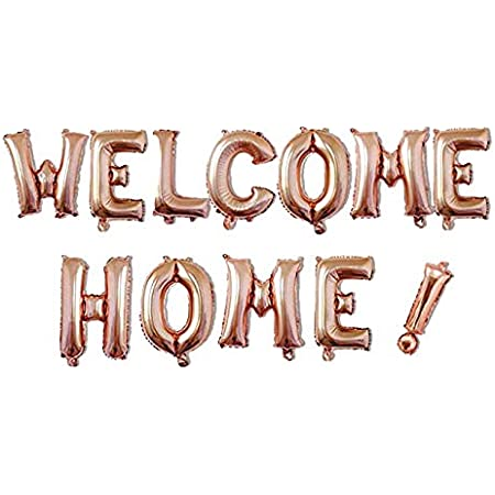 """16/"""" Rose Gold WELCOME HOME Foil Letter Balloon Banner Veteran Retirement Party"""