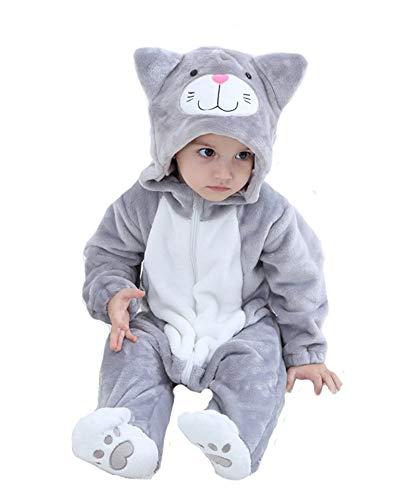 Doladola Baby Onesies Tierkarikatur-Katzen-Overalls (Graue Katze, Größe 90 (Alter 1-1,5 Jahre))