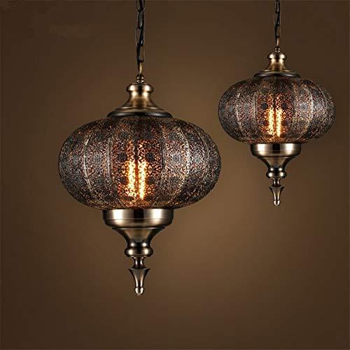 Hyy-yy India sudeste asiático balienfe yi hierro colgante luces led tallado hueco retro lámparas for restaurante restaurante lantern de lámpara (Size : D36cm)