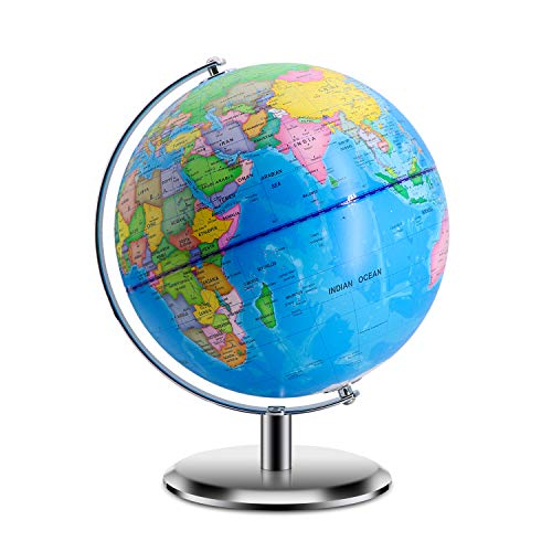 """World Globes for Kids - Small Size 8"""" Educational World Globe with Stand Adults Desktop Geographic Gobles Discovery World Globe Educational Toy for Children - Geography Learning Toy"""