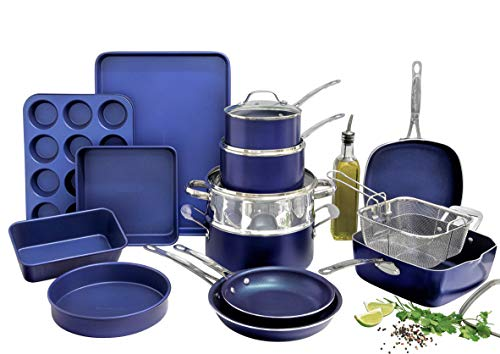 Granitestone Blue 20 Piece Pots and Pans Set Complete Cookware amp Bakeware Set with Ultra Nonstick Durable Mineral amp Diamond Surface Stainless Stay Cool Handles Oven amp Dishwasher Safe 100% PFOA Free