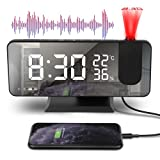 JIPRENS Projektionswecker Radiowecker,4 Projektionshelligkeit mit Automatischem Dimmer Digitaler Wecker,FM Radio 180°Projektor USB-Anschluss großem LED-Anzeige Snooze Dual-Alarm für Schlafzimmer Büro