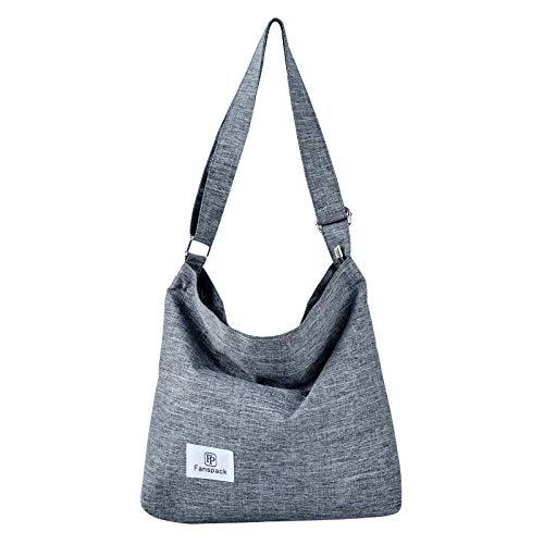 Fanspack Umhängetasche Damen, Canvas Tasche Umhängetasche Canvas Hobo Bag Handtaschen Damen Canvas Damentaschen Groß Kapazität Schultertasche Grau
