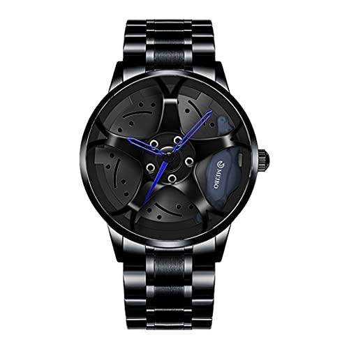 Thomm Hombre Reloj Reloj Rueda de automóviles Malla RIZ HUB Diseño Deportes estereoscópicos Movimiento de Cuarzo Reloj de Pulsera Adorno de automóviles analógicos para Hombres (Color : Blue)