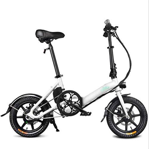 RDJM Bici electrica, 16 Pulgadas eléctrica Plegable Bicicletas, 7.8A batería de Litio Aumento de Velocidad Variable de Bicicletas Ciudad conmute out Sports Ciclismo (Color : White)
