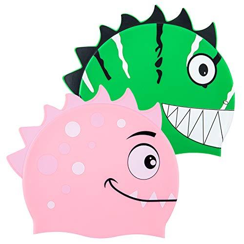 PAMASE 2 Pack Kids Cartoon Dinosaur Swim Cap-Environmental Friendly Silicone Kids Teens Swimming Cap Fit for Long Hair and Short Hair